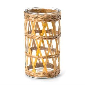 "NEW! 9"" Bamboo and Straw Lantern Opalhouse"